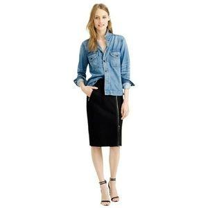 J. Crew Grey Asymmetrical Zip Pencil Wool Skirt